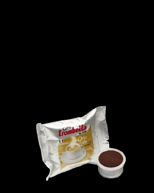 Gold Coffee Capsules Oro Capsula Caffe' Trombetta 7gx100